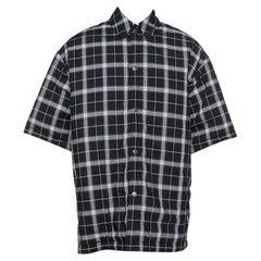 Balenciaga Monochrome Plaid Quilted Detail Oversized Short Sleeve Shirt S