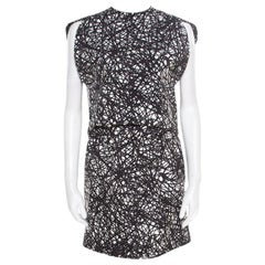 Balenciaga Monochrome Scribbled Noise Print Drop Waist Belted Dress S