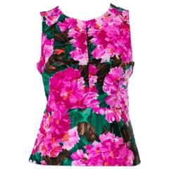 Balenciaga Multicolor Floral Printed Silk Sleeveless Top M