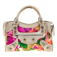 Balenciaga Multicolor Floral Satin and Leather GSH City Tote