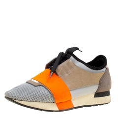 Balenciaga Multicolor Suede and Leather Race Runners Sneakers Size 38