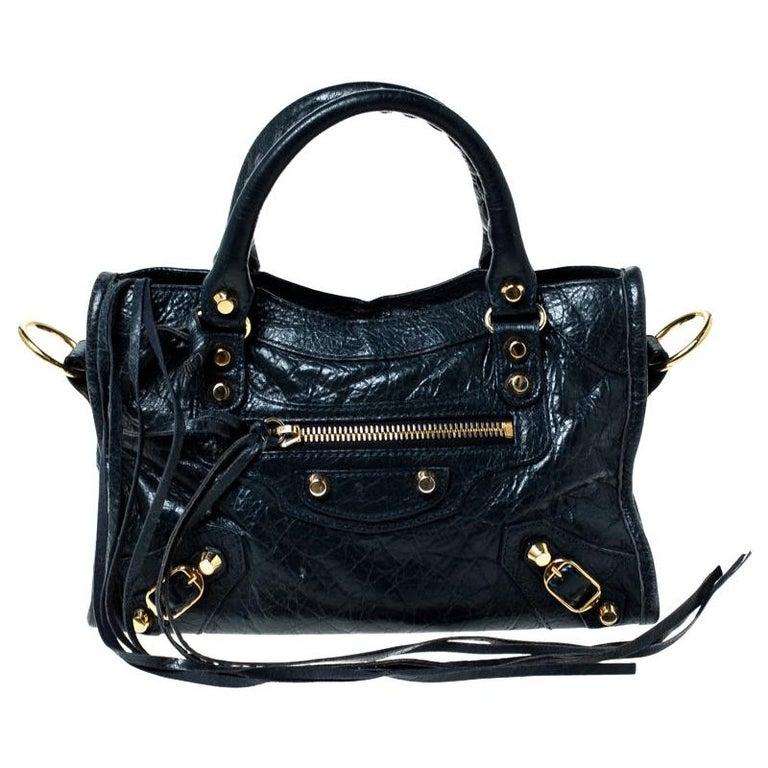 Balenciaga Navy Blue Leather Gh Hardware Mini City Bag by 1 Stdibs