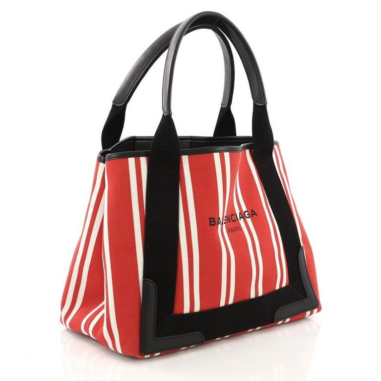 Red Balenciaga Navy Cabas Canvas with Leather Small For Sale
