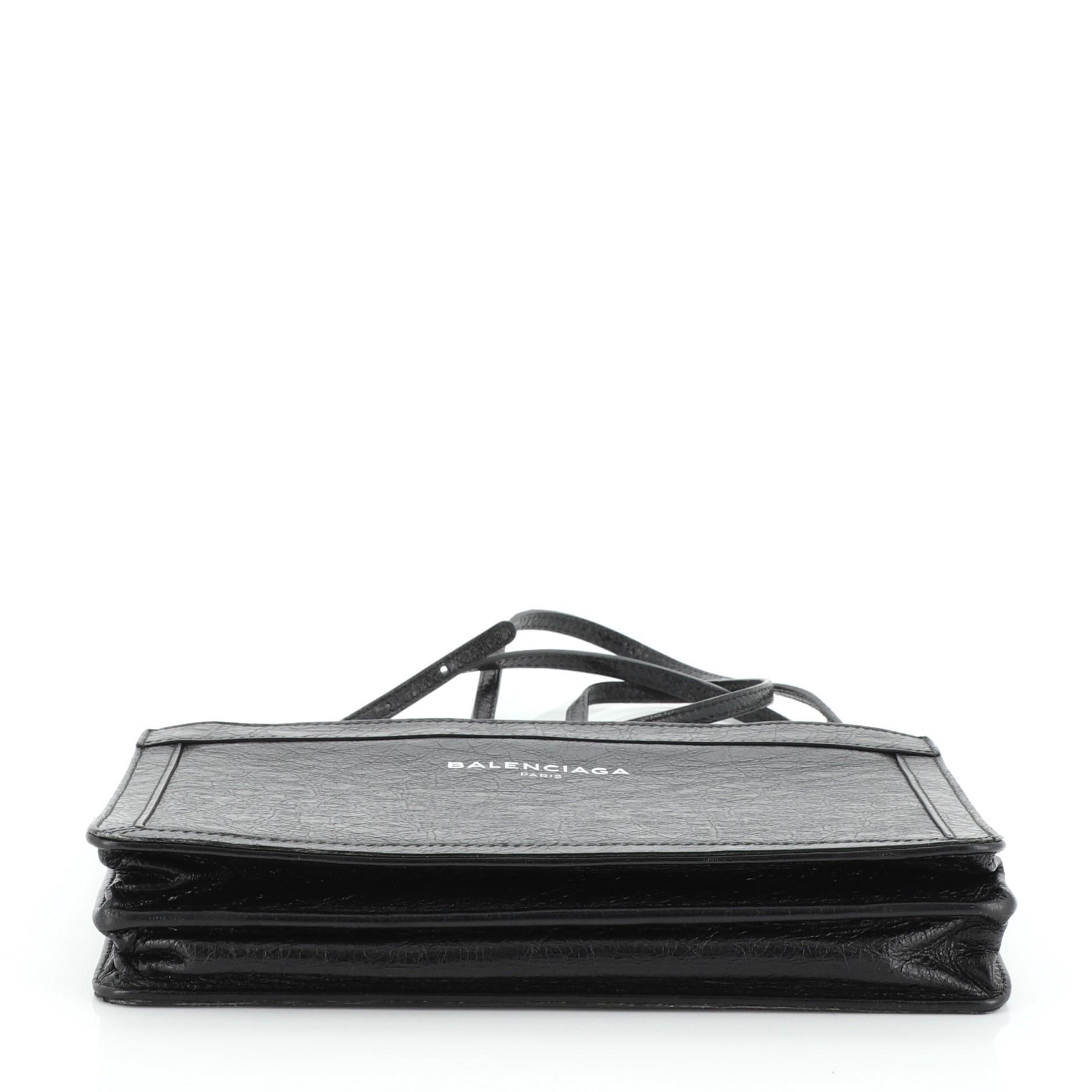 Balenciaga Navy Pochette S Leather at