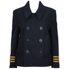 Balenciaga Navy Sailor Peacoat with Yellow Rope Trim