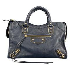 BALENCIAGA Navy Textured Leather Mirrored Edge City Satchel Bag