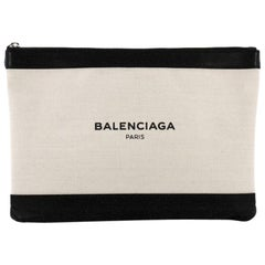Balenciaga Navy Zip Pouch Canvas and Leather Large
