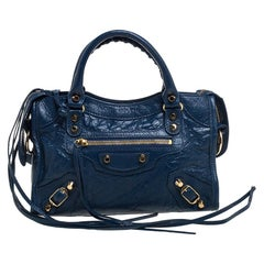 Balenciaga Neiman Marcus Blue Leather Mini Classic City Bag