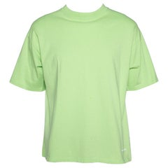 Balenciaga Neon Green Logo Embroidered Cotton T-Shirt M
