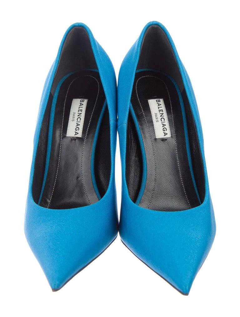 Balenciaga NEW Blue Satin Fabric Sock Evening Heels Pumps in Box  Size IT 36.5 Satin/Fabric Slip on  Made in Italy Heel height 4