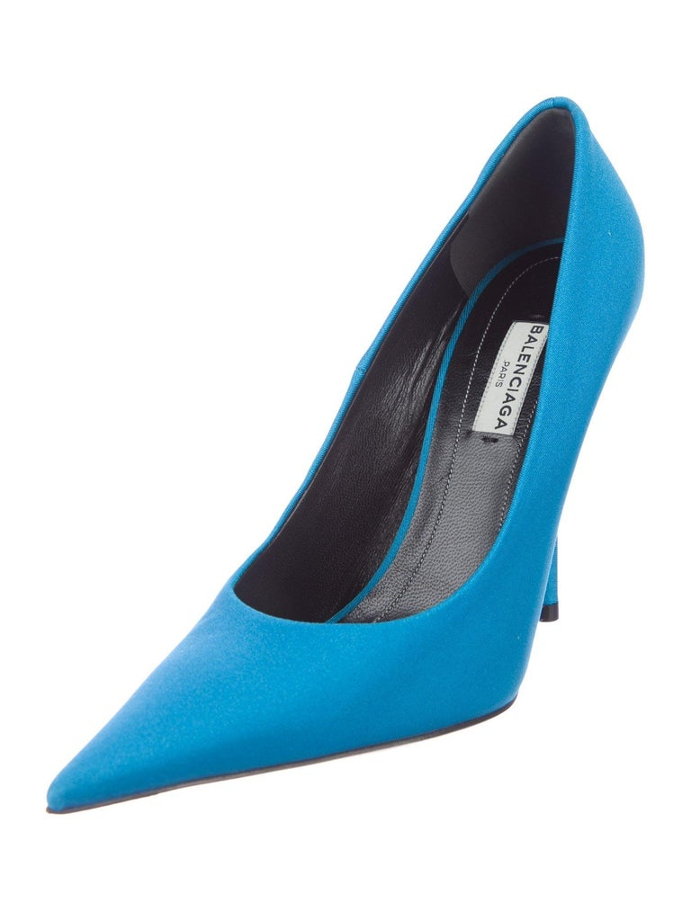 Balenciaga NEW Blue Satin Fabric Sock Evening Heels Pumps in Box In New Condition In Chicago, IL