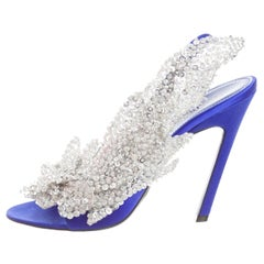 Balenciaga NEW Blue Sequin Beaded Slingback Evening Sandals Heels Pumps in Box