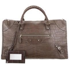 Balenciaga NEW Crocodile Exotic Men's Weekender Travel Top Handle Tote Bag