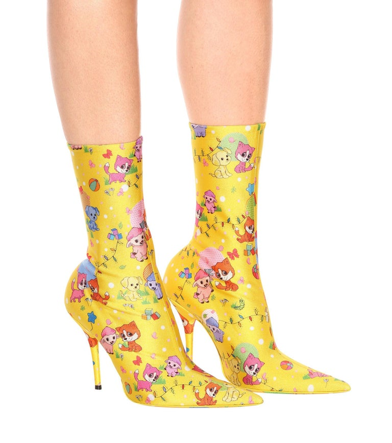 Balenciaga NEW Multi Color Pink Yellow Character Jersey Ankle Boots Booties In New Condition For Sale In Chicago, IL