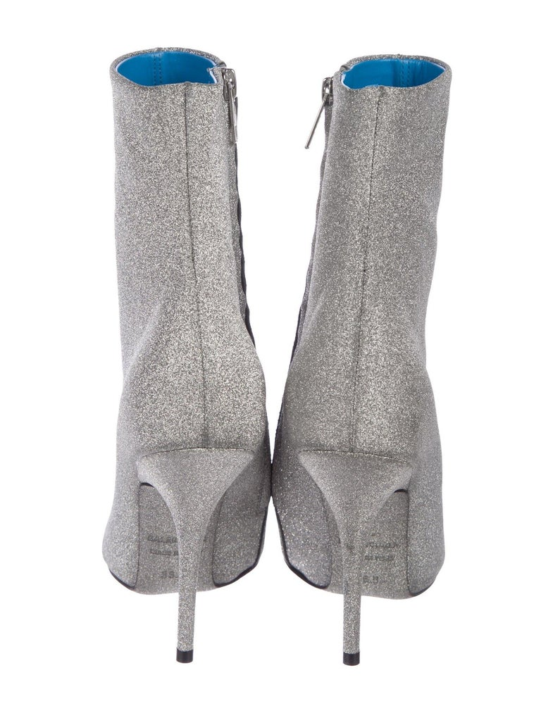 Women's Balenciaga NEW Silver Glitter Pointy Toe Evening Ankle Boots Booties For Sale