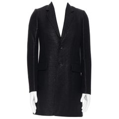 BALENCIAGA NICOLAS GHESQUIERE 2008 black lacquared tweed long coat jacket XS