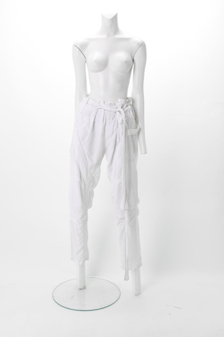 Impossible to find, Balenciaga Nicolas Ghesquière White Corduroy Cargo pants, S/S 2002 Loose Fit;
