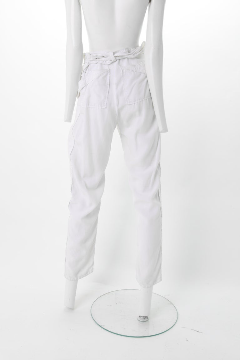 Gray Balenciaga Nicolas Ghesquière White Corduroy Cargo pants, S/S 2002 For Sale