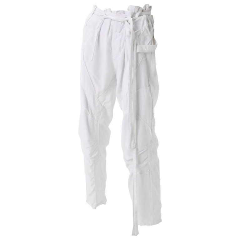 Balenciaga Nicolas Ghesquière White Corduroy Cargo pants, S/S 2002 For Sale