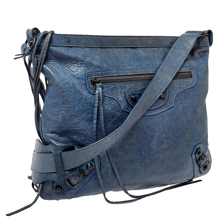 Purple Balenciaga Ocean Leather RH Flat Messenger Bag