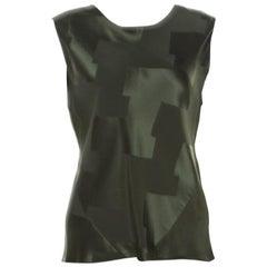 Balenciaga Olive Green Satin Jacquard Back Tie Detail Sleeveless Top S