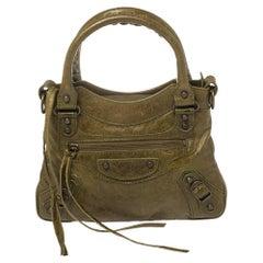 Balenciaga Olive Leather Mini Classique Bag