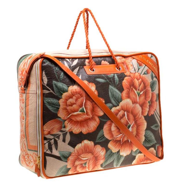 Balenciaga Orange Fl Print Glazed Leather Blanket Bag