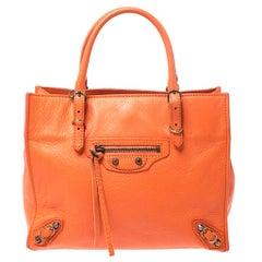 Balenciaga Orange Leather Mini Papier A4 Tote