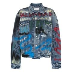 Balenciaga Oversized Graffiti-Printed Denim Jacket