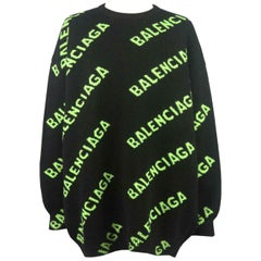 Balenciaga Oversized Intarsia Wool Blend Sweater