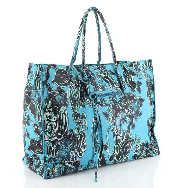 Blue Balenciaga Papier A4 Classic Studs Bag Printed Leather Medium