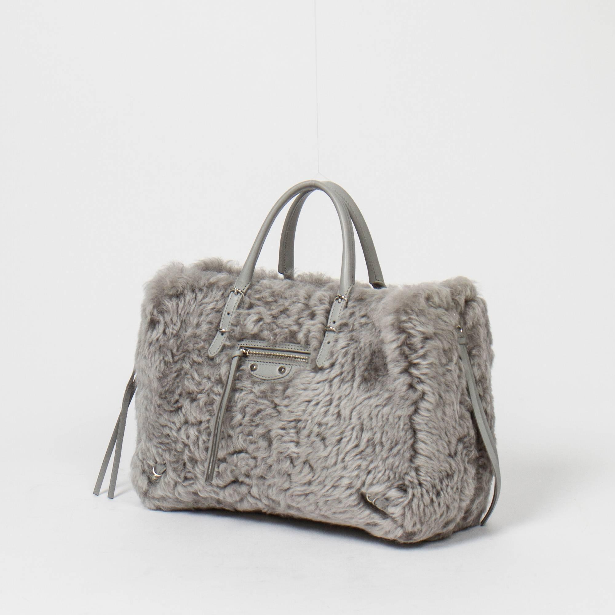 Balenciaga Papier A6 Mini Zip Around In Grey Merino Lamb Fur 1z0v84