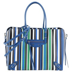 Balenciaga Papier B4 Zip Around Classic Studs Bag Striped Leather