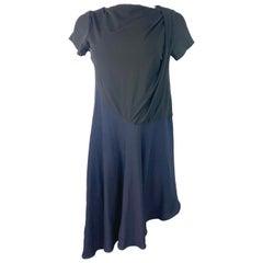 Balenciaga Paris Black and Navy Short Sleeves Dress, Size 40