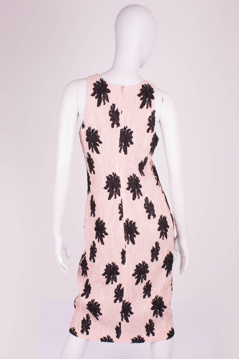 Pink Balenciaga Paris Floral Applique Silk Blend Dress - pale pink/black For Sale