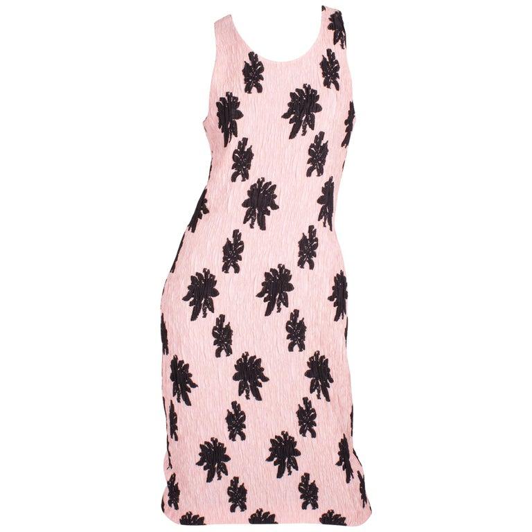 Balenciaga Paris Floral Applique Silk Blend Dress - pale pink/black For Sale