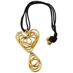 Balenciaga Paris Long Pendant Necklace Gilt Metal Wired Spiral Design