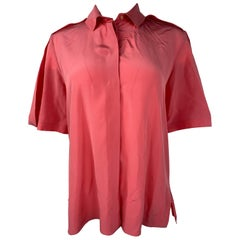 Balenciaga Paris Pink Coral Silk Short Sleeves Blouse Top Size 40