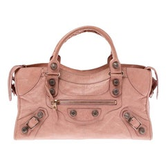 Balenciaga Peach Leather Rose Gold Hardware Part Time Tote