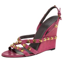 Balenciaga Pink Leather Studded Slingback Wedge Sandals Size 38.5
