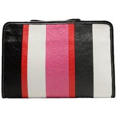 Balenciaga Pink/Multicolor Colorblock Mini Bazar Striped Pouch