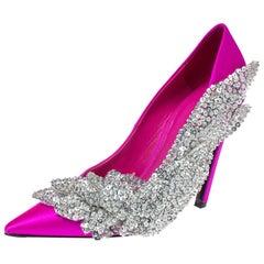 Balenciaga Pink Satin Crystal Embellished Pumps Size 39