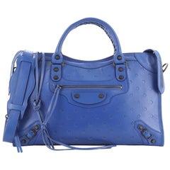 Balenciaga Polka Dot City Classic Studs Bag Perforated Leather Medium