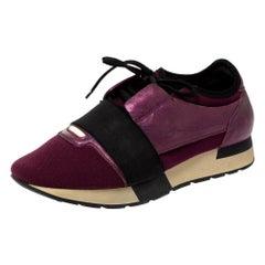 Balenciaga Purple/Black Neoprene and Leather Race Runner Sneakers Size 39