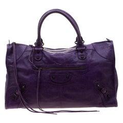 Balenciaga Purple Leather RH Work Tote