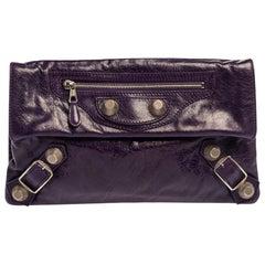 Balenciaga Purple Motocross Leather Giant 21 Envelope Clutch Bag