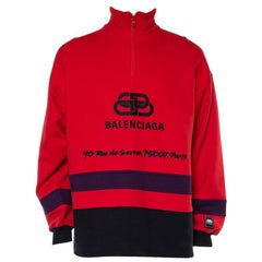 Balenciaga Red Cotton Logo Embroidered Sweatshirt M