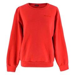 Balenciaga Red Embroidered Logo Sweatshirt S 10
