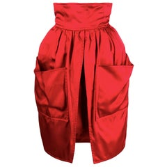 Balenciaga Red Evening Satin Skirt
