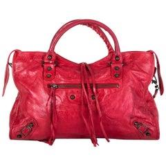 BALENCIAGA red leather CLASSIC CITY MEDIUM Bag